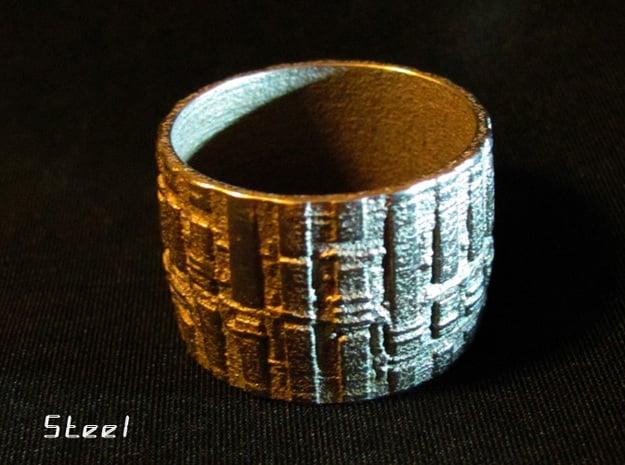 Bio Mech Ring #2, Ring Size 7.5 in White Natural Versatile Plastic