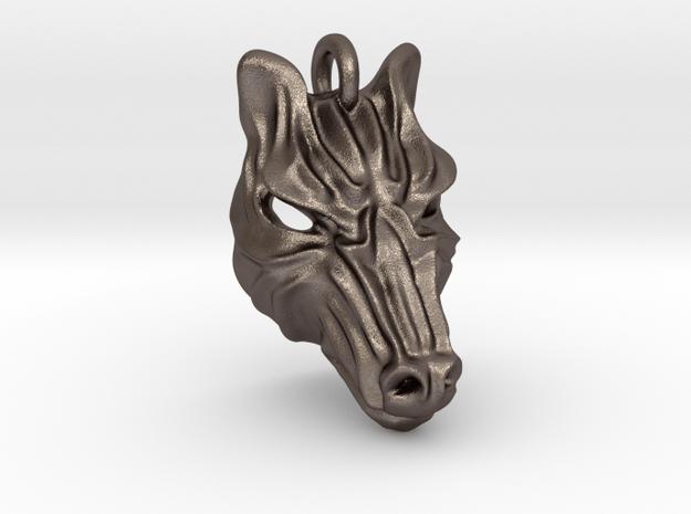 Zebra Small Pendant in Polished Bronzed Silver Steel