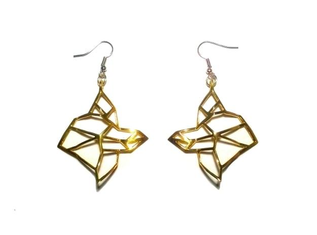 FabGeo Earrings in Polished Brass