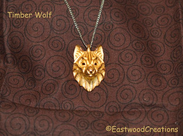 Timber Wolf Pendant in Polished Gold Steel