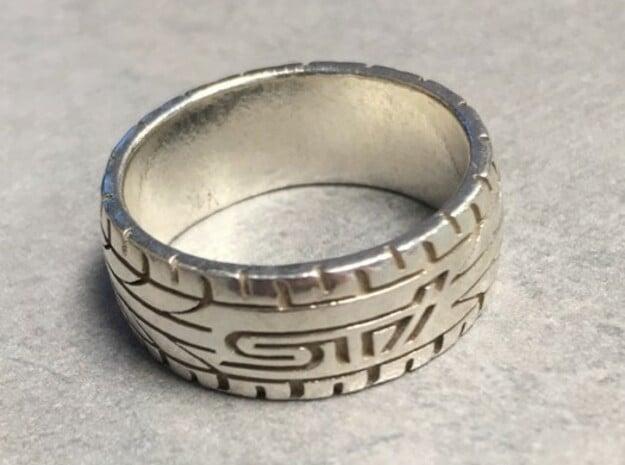 Subaru STI ring  - 16 mm (US size 5 1/2) in Natural Silver