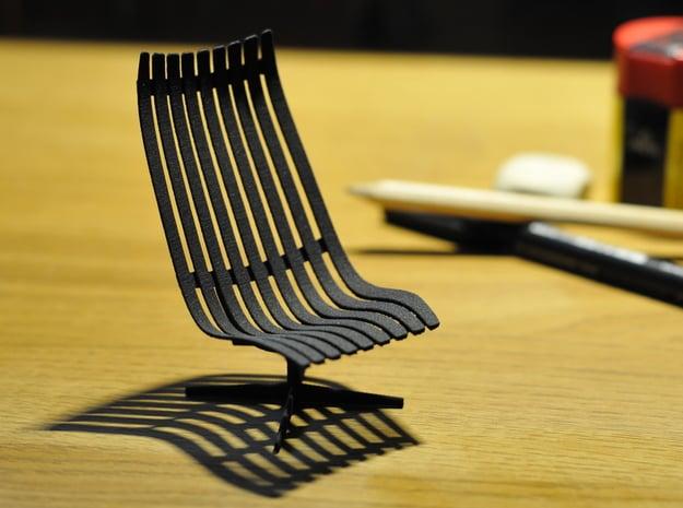 Scandia Senior Chair 1/12 Scale in Black Natural Versatile Plastic