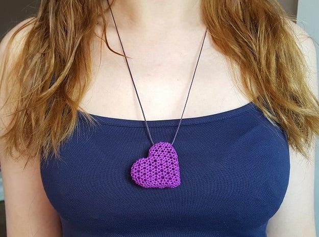Knots Heart pendand in Purple Processed Versatile Plastic