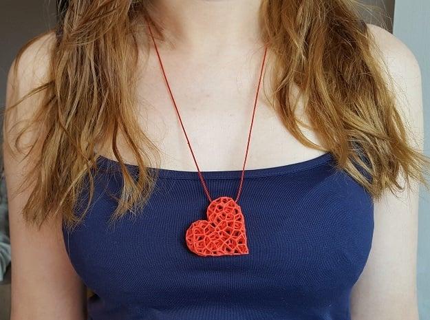 Voronoi Heart pendant (version 2) in Red Processed Versatile Plastic