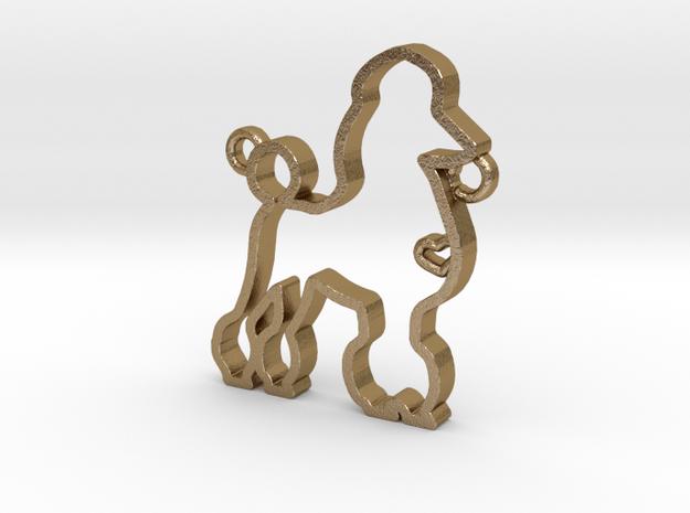 Poodle pendant in Polished Gold Steel