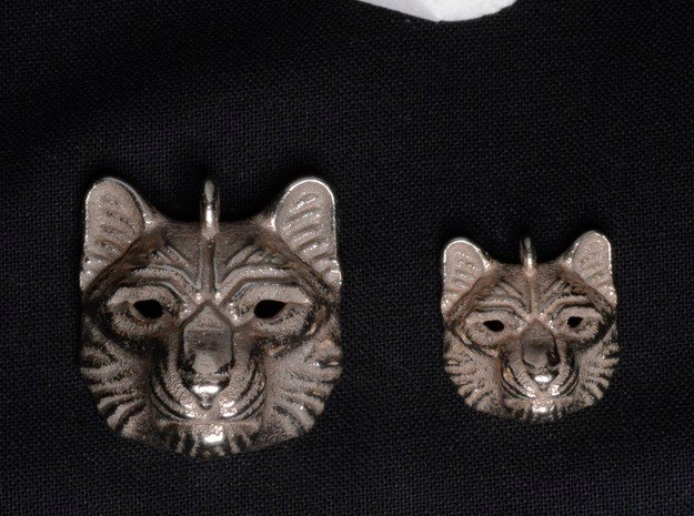 Snow Leopard Small Pendant in Polished Bronzed Silver Steel