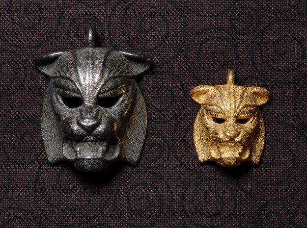 Tiger kabuki-style Pendant small in Polished Bronzed Silver Steel