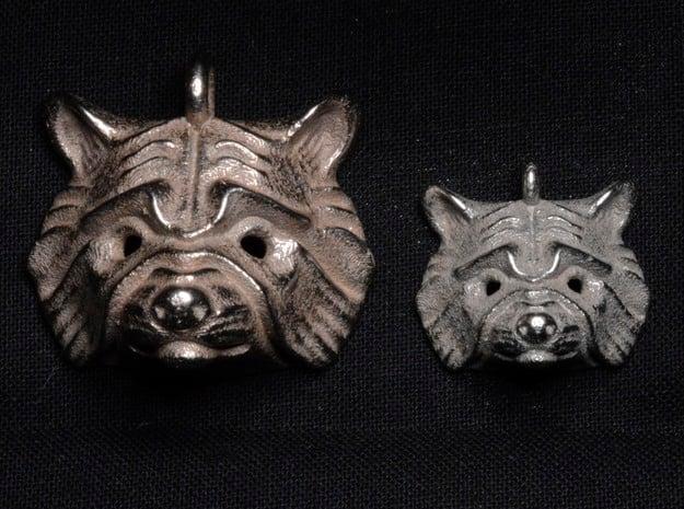 Raccoon Pendant in Polished Bronzed Silver Steel