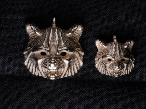 Raccoon (angry) Small Pendant in Polished Bronzed Silver Steel