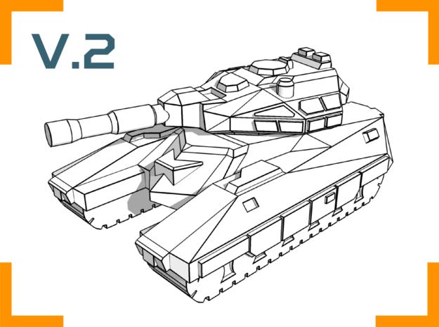 """""""Bishop"""" Battle Tank 6mm V.2 in White Natural Versatile Plastic"""