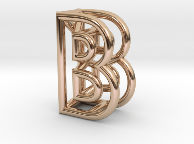 B in 14k Rose Gold Plated Brass