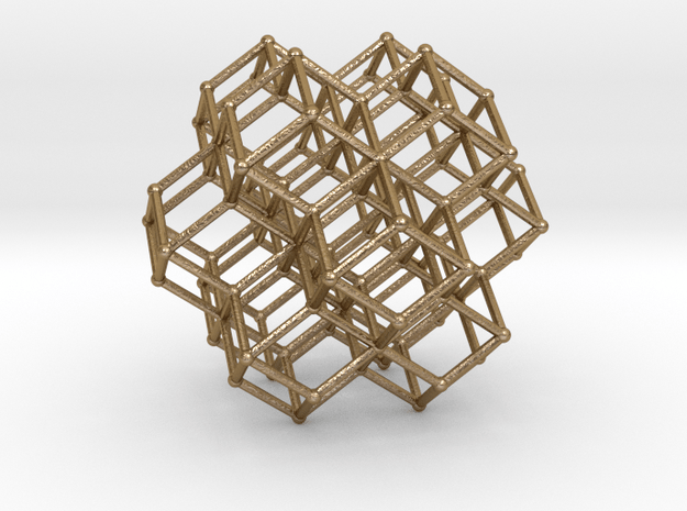 Sacred Geometry RhombicDodeca Honeycomb 50mm  in Polished Gold Steel