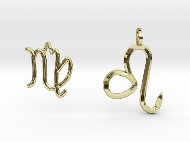 Leo&Virgo Zadiac's 2pendants in 18k Gold Plated Brass