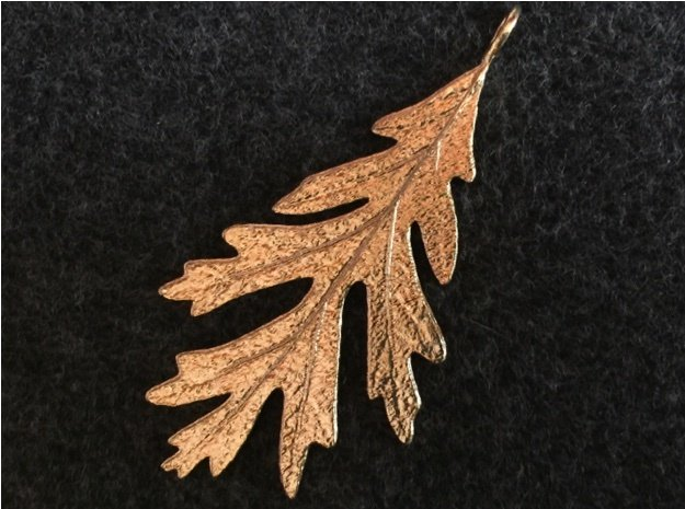 Oak Leaf Pendant in Natural Brass