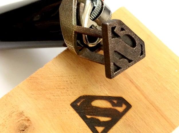 Superman Bic Branding Iron in Polished Bronzed Silver Steel