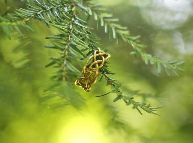 Leaf Celtic Knot Ring in Natural Brass: 6.5 / 52.75