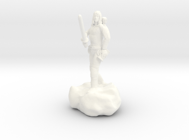 Male Halfling Bard With Rapier and Lutebow in White Processed Versatile Plastic