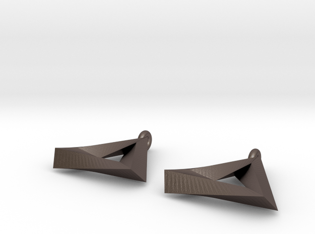 Penrose Triangle - Earrings (17mm   2x mirrored) in Polished Bronzed Silver Steel