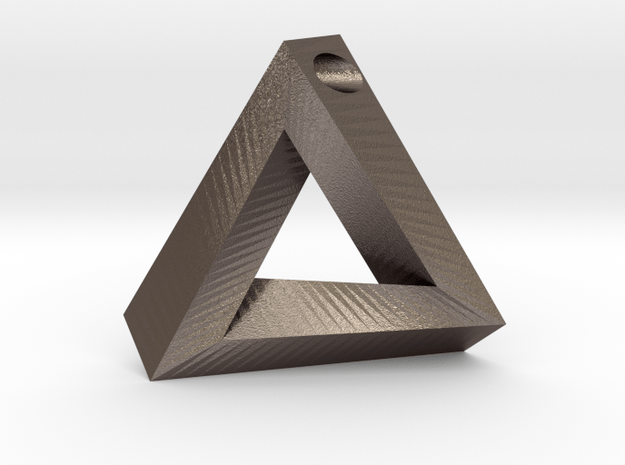 Penrose Triangle - Pendant (3.5cm   3.5mm hole) in Polished Bronzed Silver Steel