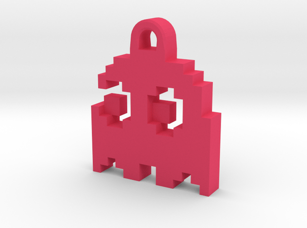Pac Man Ghost 8-bit Earring 2 (looks left   moving in Pink Processed Versatile Plastic
