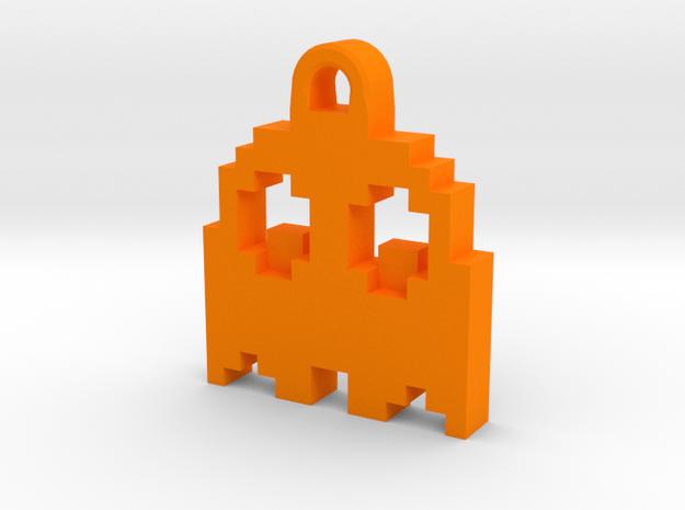 Pac Man Ghost 8-bit Earring 2 (looks down   moving in Orange Processed Versatile Plastic