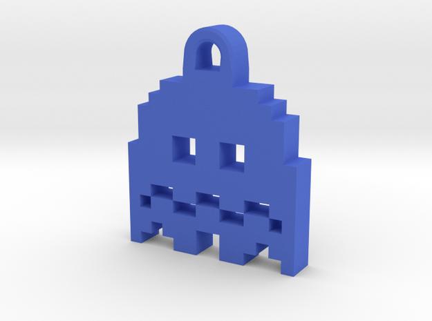 Pac Man Ghost 8-bit Earring 2 (afraid   moving) in Blue Processed Versatile Plastic