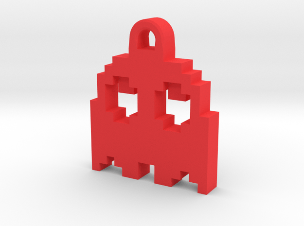 Pac Man Ghost 8-bit Earring 2 (looks up   moving) in Red Processed Versatile Plastic