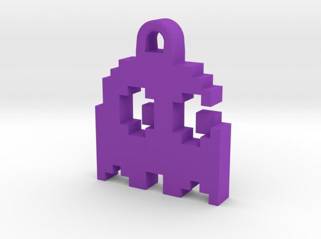 Pac Man Ghost 8-bit Earring 2 (looks right   movin in Purple Processed Versatile Plastic