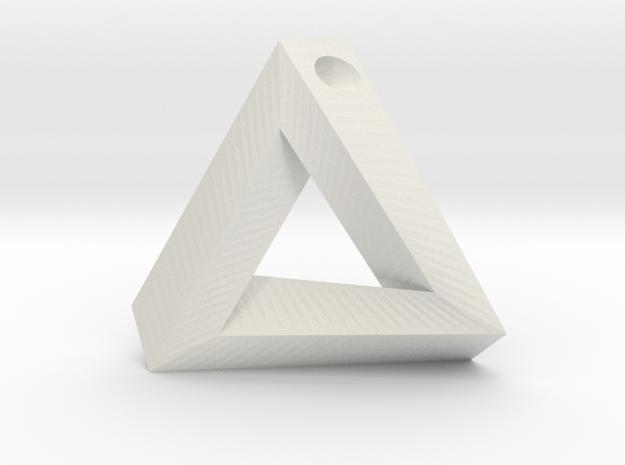 Penrose Triangle - Pendant (3.5cm   3mm hole) in White Natural Versatile Plastic