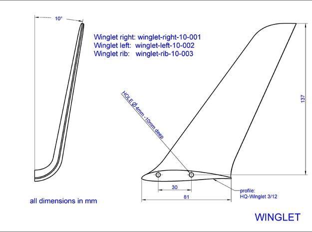 Winglet-right-10-001 in White Processed Versatile Plastic