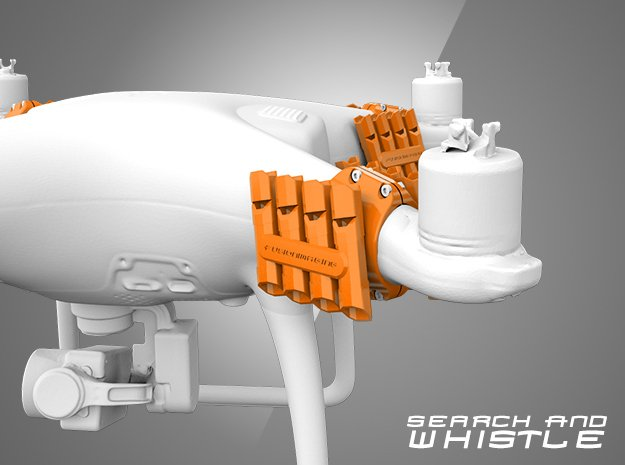Phantom 4 - 'Search and Whistle' Drone Attachment  in Orange Processed Versatile Plastic