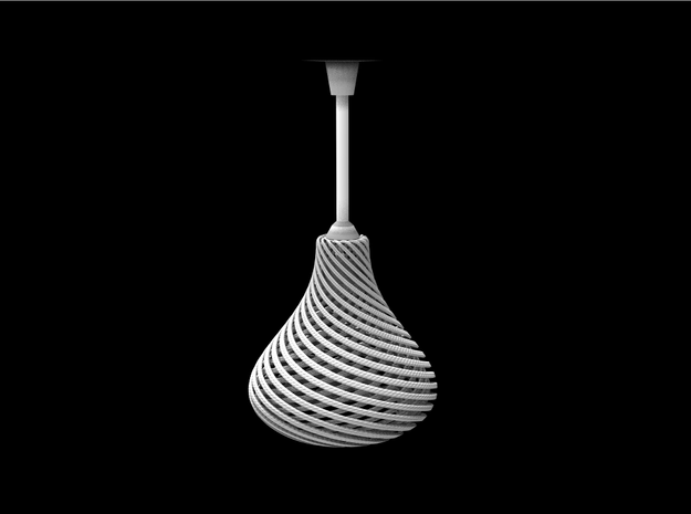 Lampshade Pear Twisted in White Natural Versatile Plastic