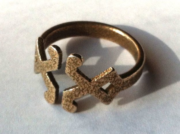Decor Ring - US Size 7 in Polished Bronzed Silver Steel