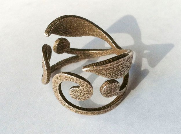 Hidden Life Ring - US Size 7 in Polished Bronzed Silver Steel