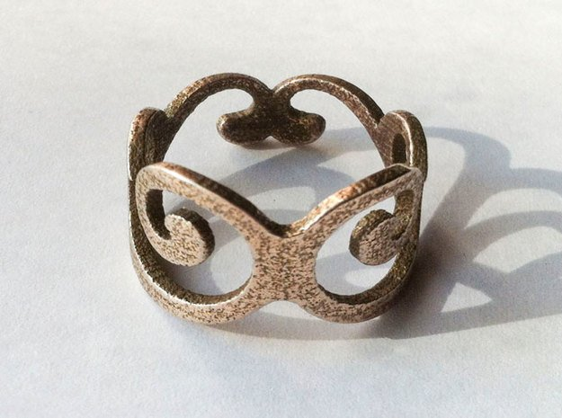 Royal Ring - US Size 7 in Polished Bronzed Silver Steel
