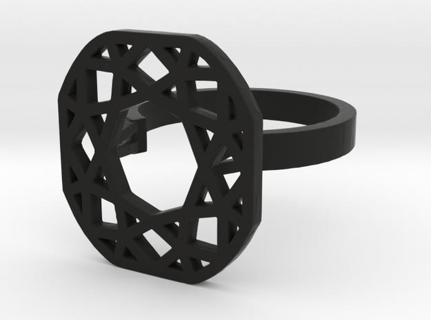 Square (princess cut) diamond ring in Black Natural Versatile Plastic: 8 / 56.75