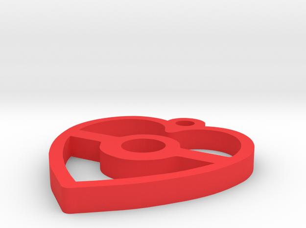 Pokeball Heart Pendant in Red Processed Versatile Plastic