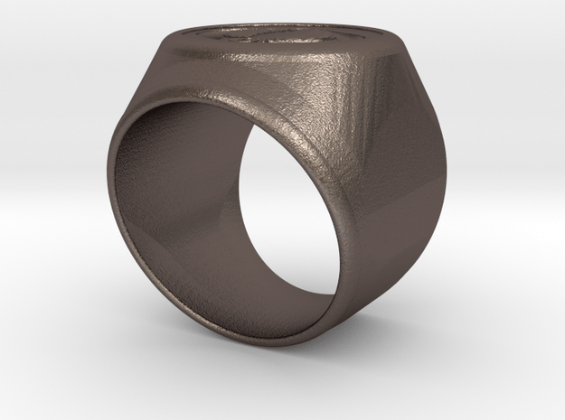 Riga Signet Ring v4 in Polished Bronzed Silver Steel