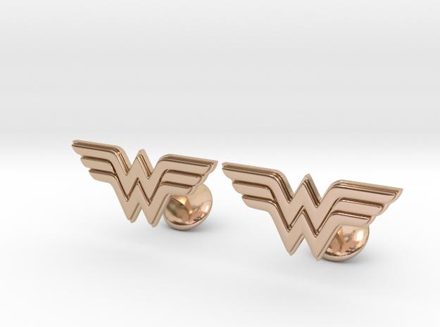 Wonder Woman Cufflinks in 14k Rose Gold Plated Brass