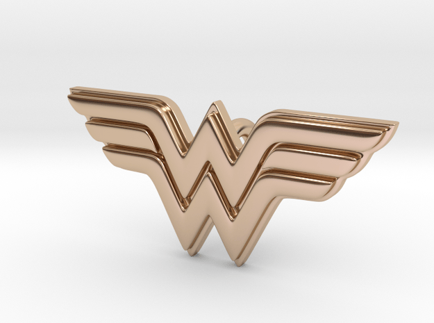 Wonder Woman Pendant in 14k Rose Gold Plated Brass