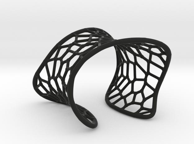 Voronoi Cuff Bracelet in Black Natural Versatile Plastic