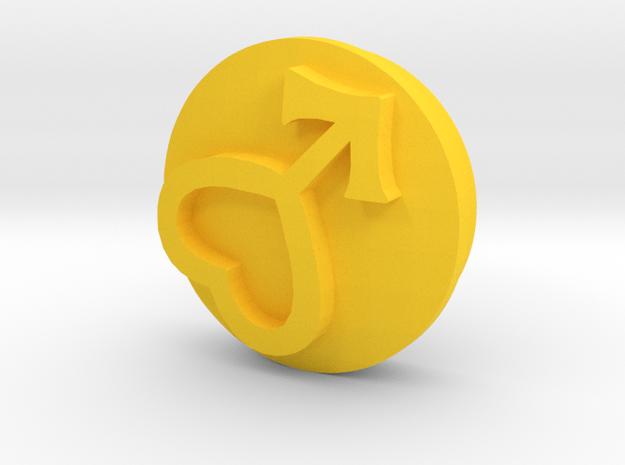 Sailor Moon Transformation Pen-Mars-Sigil-1/3 in Yellow Processed Versatile Plastic