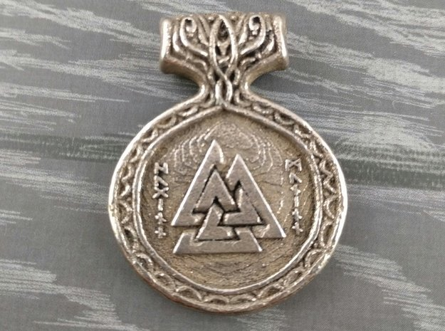 Odin Pendant in Polished Bronzed Silver Steel