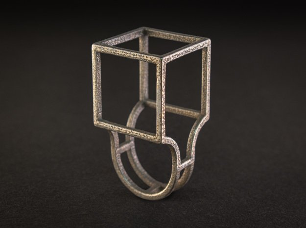 The Box - Size 5 in Polished Bronzed Silver Steel