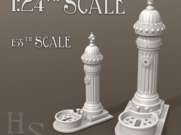 1:24th scale Classic European drinking fountain in Smooth Fine Detail Plastic