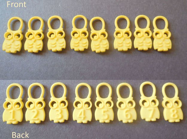 Hedwig - Stitch Markers for Knitting in Yellow Processed Versatile Plastic