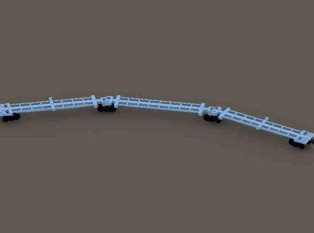 Z Scale Spline Car (Type 1) - 3 Car Set in White Processed Versatile Plastic