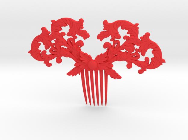 Hair Comb in Red Processed Versatile Plastic