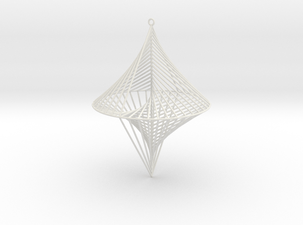 String Sculptures Pendant - Straight Line Curve in White Natural Versatile Plastic