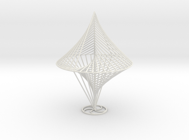 String Sculptures Stand - Straight Line Curve in White Natural Versatile Plastic